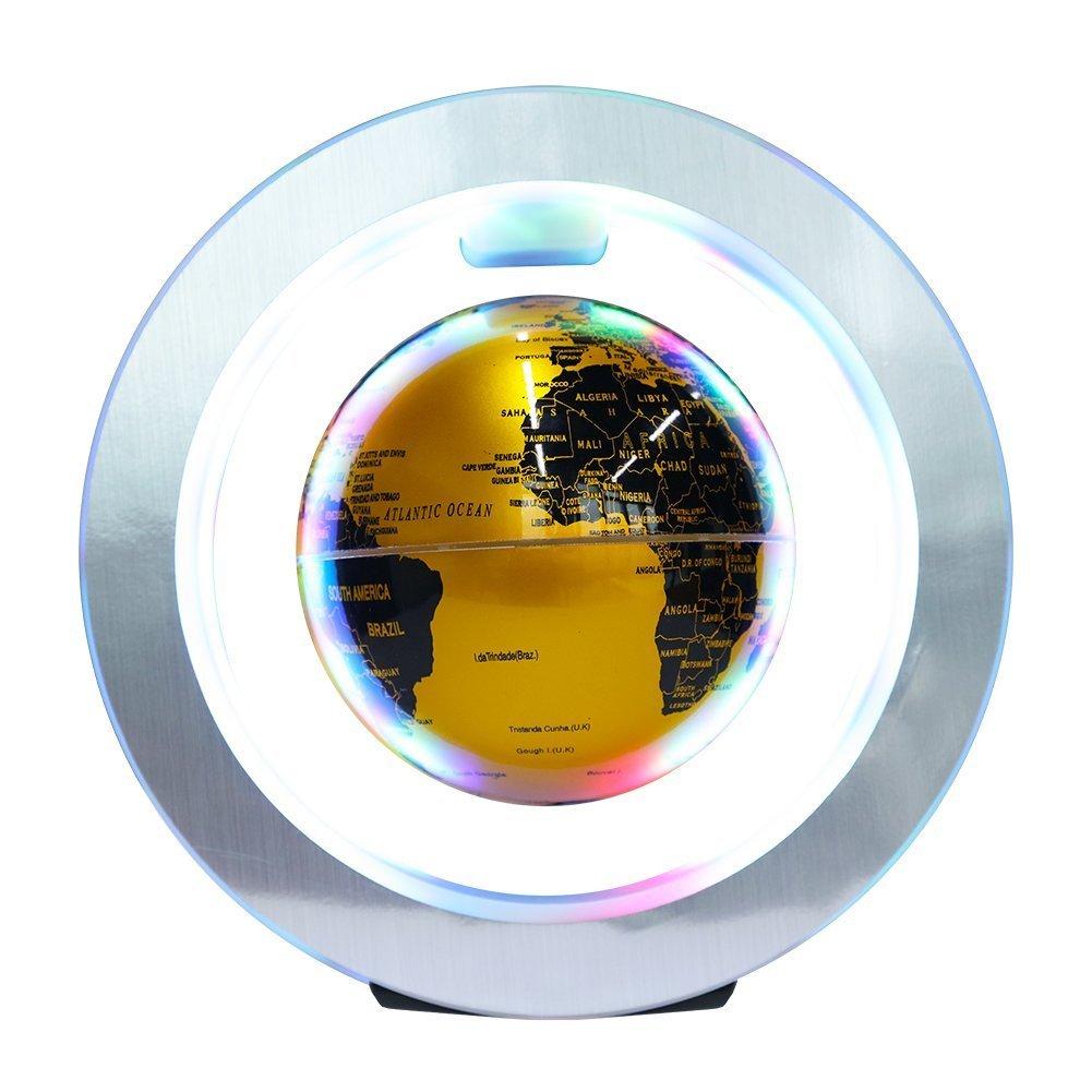 Conpush 4 inch Floating Globe Magnetic levitation World Map LED Table Decoration With Round Shape Base (gold)