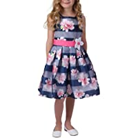 Jona Michelle Girl's Striped Floral Dress Pink