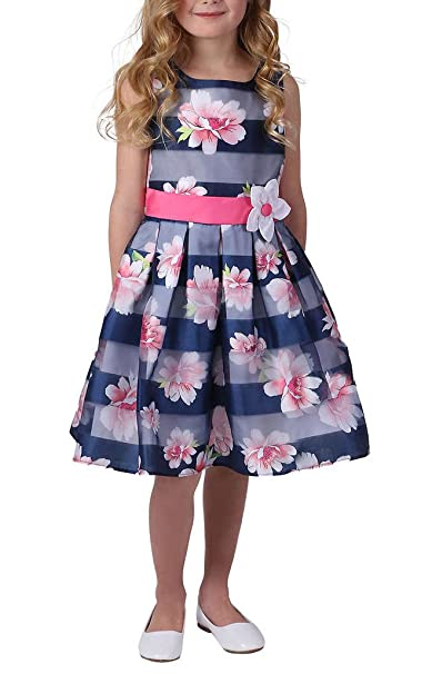 ae32e5a5949 Amazon.com  Jona Michelle Girl s Striped Floral Dress  Clothing