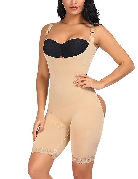 2fa16d55e7bf5 Tummy Control Shapewear Butt Lifter Bodysuit Open Bust Body Shaper Waist  Shaper Beige M