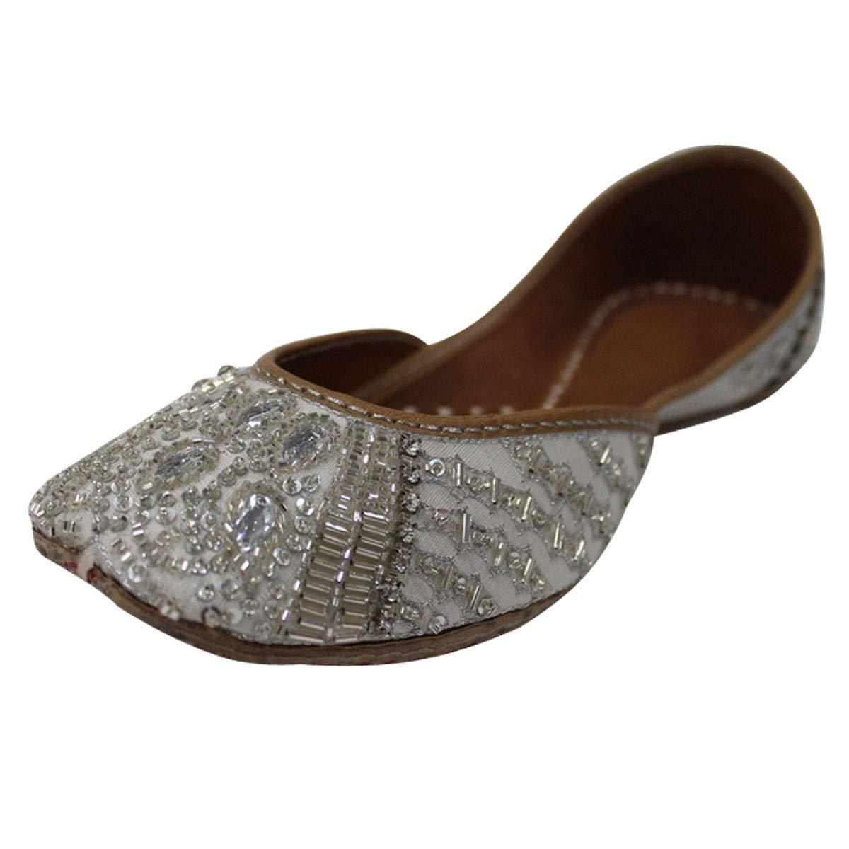 Stop N Style Silver Beaded Punjabi Jutti For Women Bridal Shoes