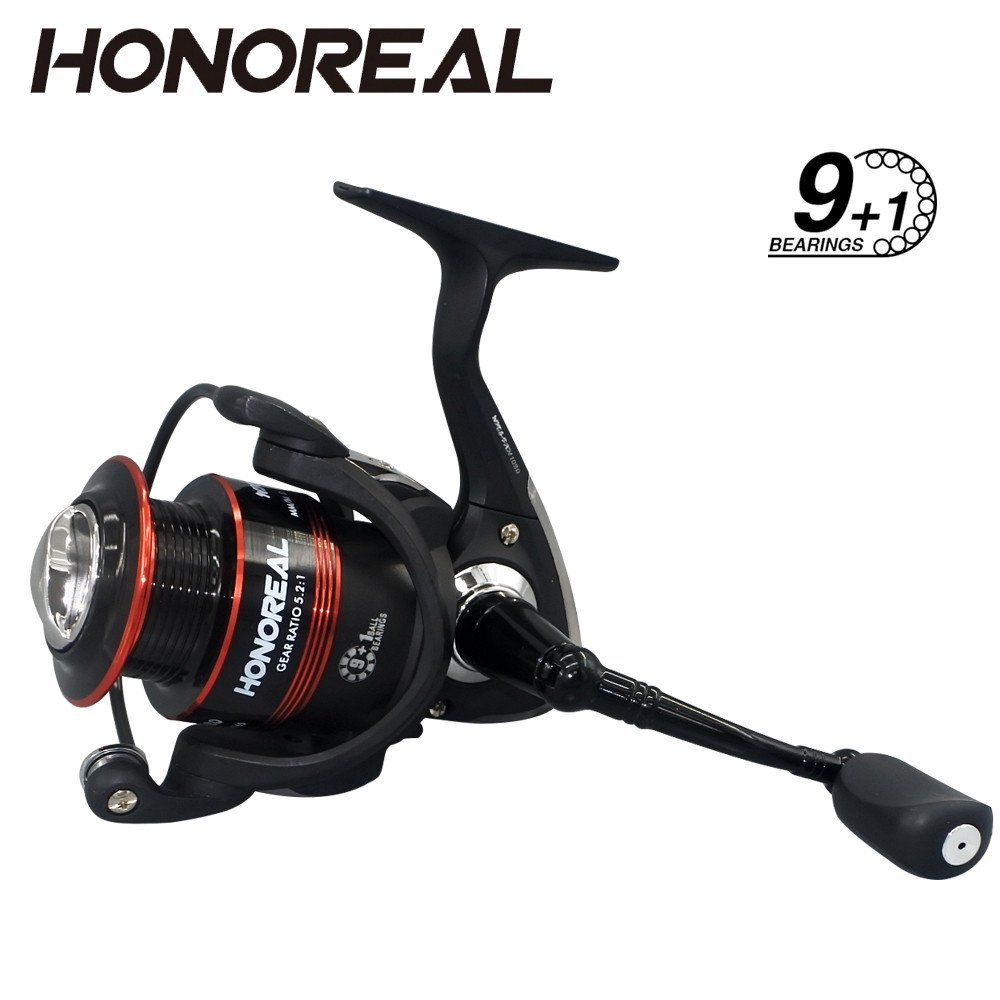 Dressffe HONOREAL Aluminum Body Rotor Ultra Smooth 9+1 BB Spinning Fishing Reel, Strong CNC Handle with Rubber Knob