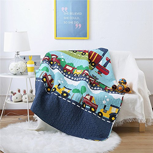 Train Pattern (Abreeze 100% Cotton Children's Bedspread, Train Pattern Coverlet Quilt Bedspread Throw Blanket 43