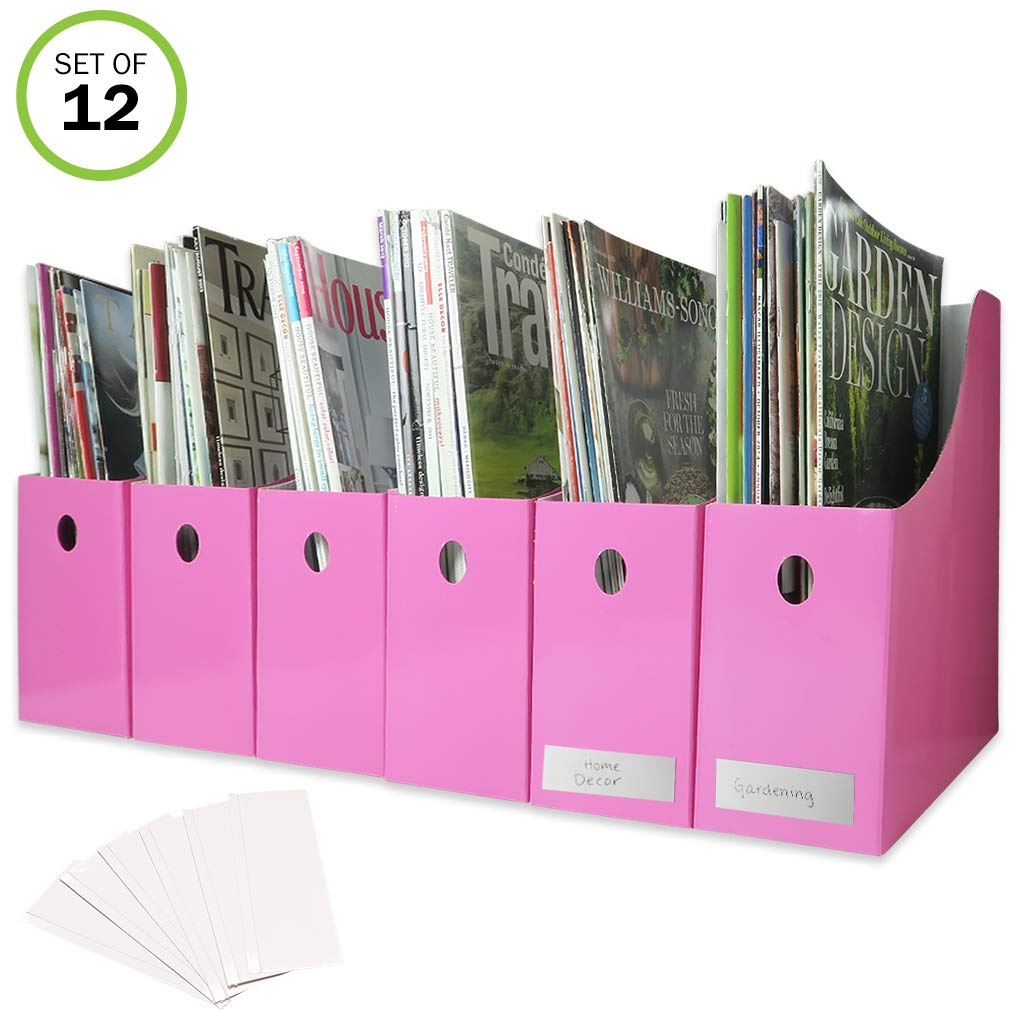 Evelots Magazine File Holder-Organizer-Full 4 Inch Wide-Pink-With Labels-Set/6 Green Mountain Imports 5866