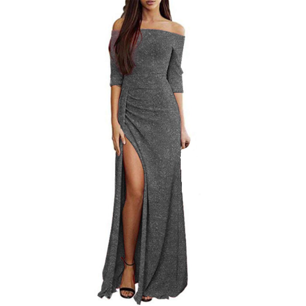 Buy Seraphy Pretty Woman S Evening Dress Sparkling Gown Long Dinner Party Dress Cocktail Dress Elegant Formal Banquet Ceremony Dress Bridesmaid Dress Multi Color Grey Xl At Amazon In