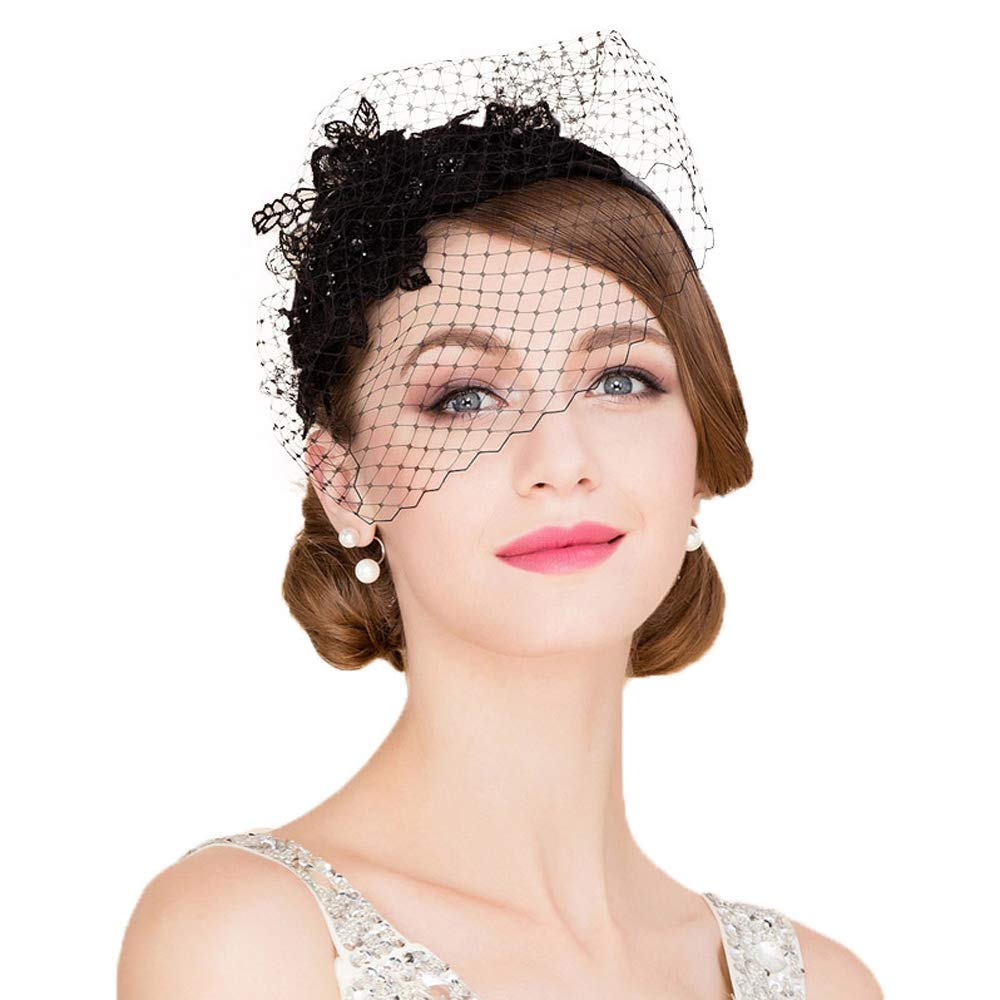 F FADVES Ladies Flower Veil Fascinators Cocktail Tea Party Banque Wedding Headwear Black by F FADVES