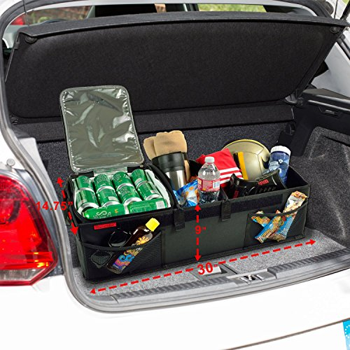 Picnic at Ascot - Ultimate Heavy Duty Trunk Organizer w/Cooler - No Slide Rigid Base -70 LB Capacity - 30'' Wide x 14.75'' deep x 9'' high - Black- 2 Pack by Picnic at Ascot (Image #1)