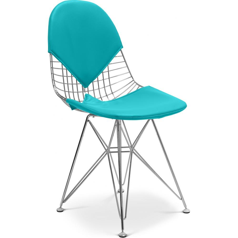 Wire Chair DKR-2 Charles Eames Style - Faux Leather Turquoise ...