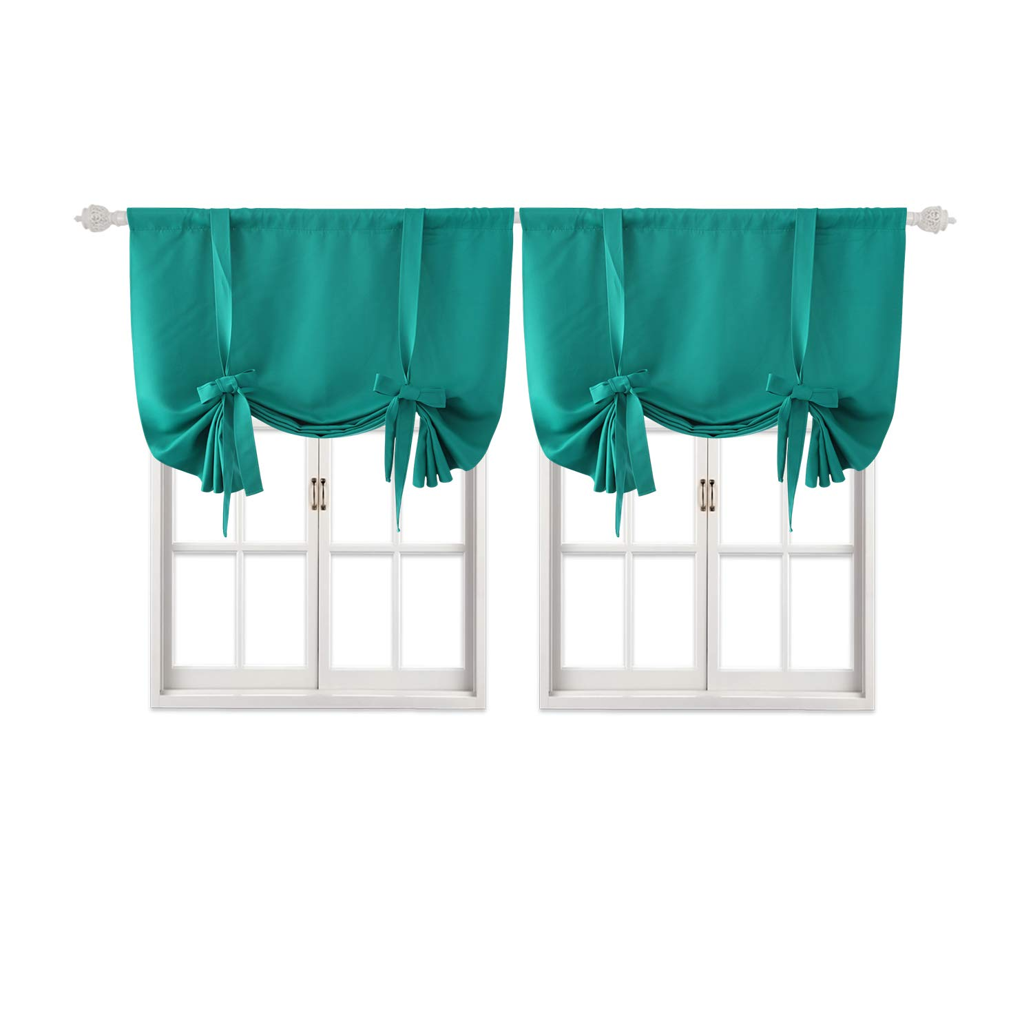 Deconovo Teal Blackout Curtains Rod Pocket Blackout Drapes Room Darkening Curtains for Living Room Turquoise/Teal 42W x 45L 2 Panels