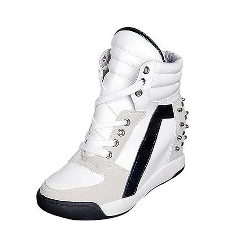 Logobeing Botines Planos Zapatos con Cordones de Tacón Oculto con Cordones Zapatos de Viaje Casuales Botas