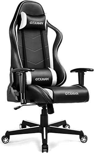 Gaming Chair Racing Office High Back PU Leather Computer Desk Executive and Ergonomic Swivel Chair with Headrest and Lumbar, White