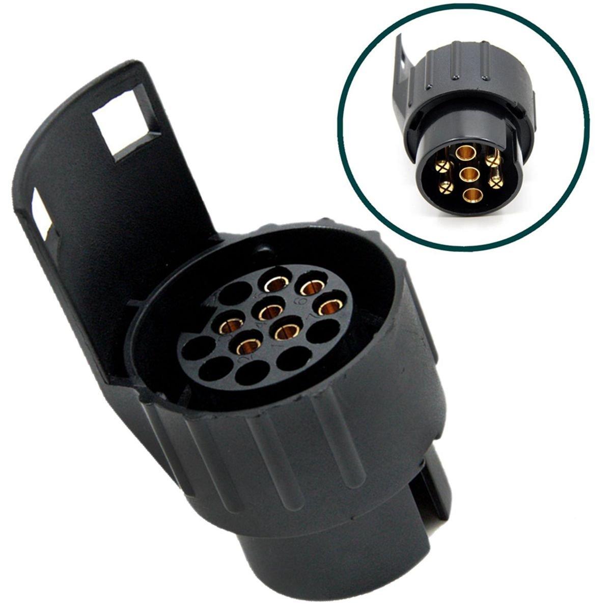 12V Adaptador para enchufe de remolque de 7 Pines a 13 Pines Convertidor Adaptador de Corriente para Caravana, Autocaravana o camió n 7 Pin a 13 Pin Adaptador Conector de Enchufe Trailer Plug Adapter TIANOR NEW12VSQ_de