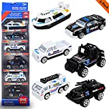 New Ideal 6 PCS Police Vehicles Decast,Different Types Police Pull Back Friction Powered Car,Best Gift Boys Girls(Police Model car)