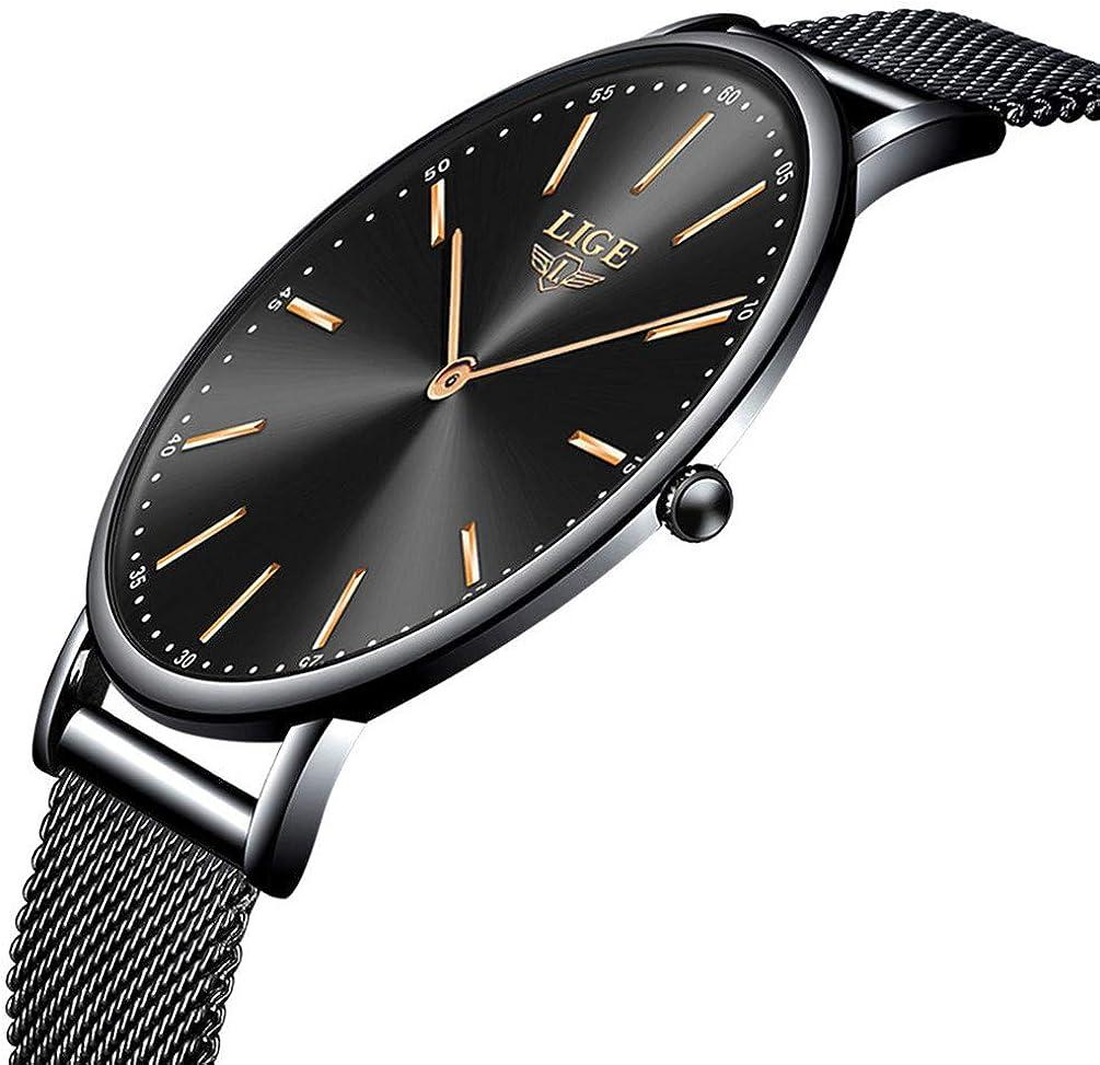 LIGE Relojes Moda Femenina Casual Reloj Ultra Delgado para Mujer Reloj de Cuarzo analógico Simple Impermeable para Mujer Delgado Oro Rosa Blanco Malla de Reloj Elegante para Hombre Reloj de Pulsera