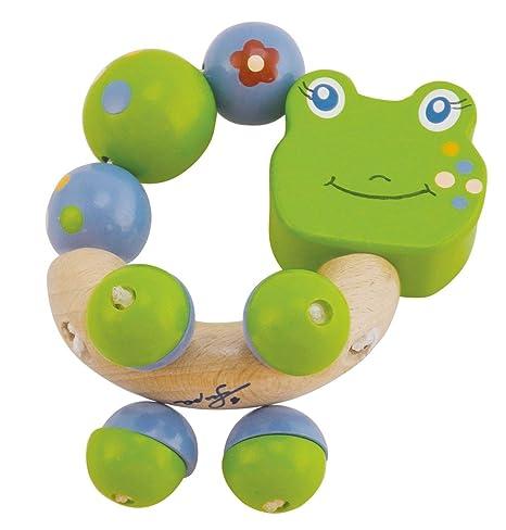 Bieco 44021011 Figura Sonajero Froggy, Sonajero Anillo en forma de madera con Froggy el Rana