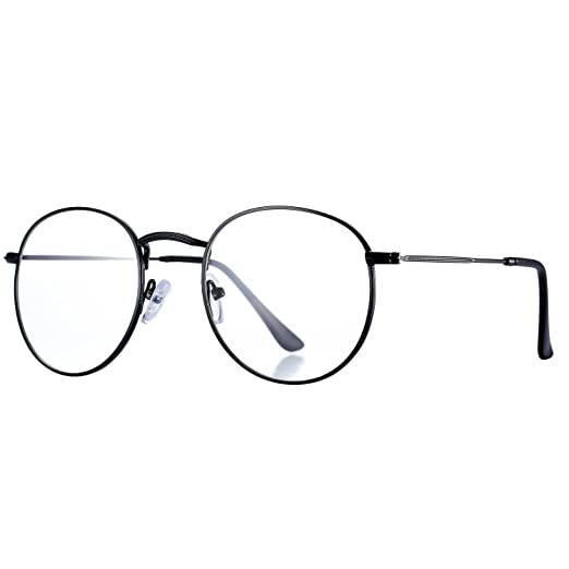 Amazon.com: Pro Acme Classic Round Metal Clear Lens Glasses Frame ...