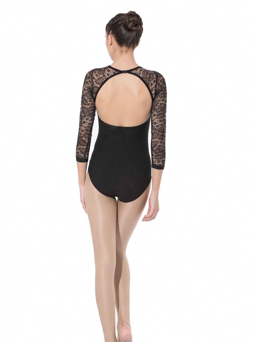 ModLatBal Womens Long Lace Sleeve Open Back Ballet Leotards Dance Gymnastic Bodysuit