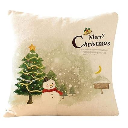 Cotton Linen Christmas Xmas Socks Pillow Case Throw Cushion Cover Home Decor