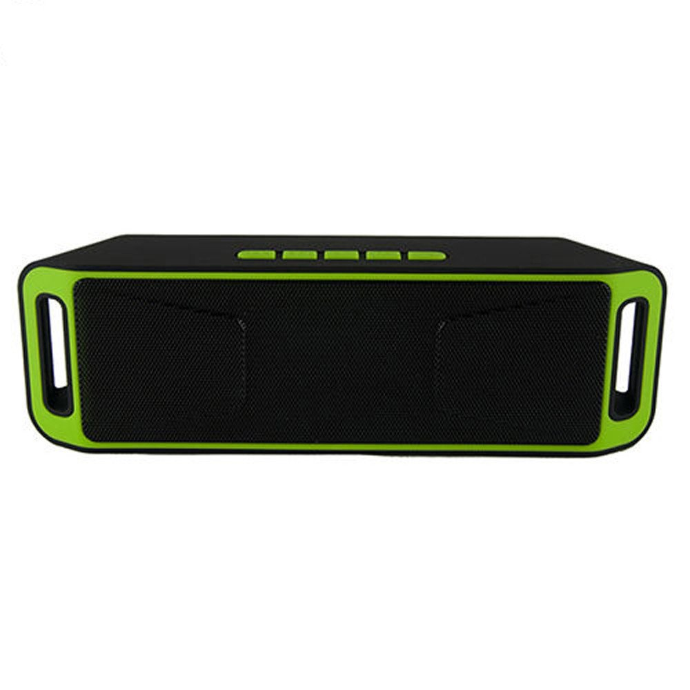 Geetobby ワイヤレス Bluetooth ポータブルスピーカー TF USB FM MIC HD ステレオサウンド 低音 ミニワイヤレススピーカー 携帯電話 コンピューター用 グリーン  グリーン B07P2CS75Z