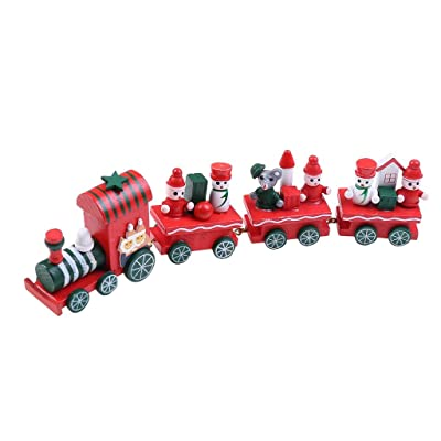 Elevin(TM)???????? Christmas Train Painted Wood with Santa/Bear Xmas Kid Toys Gift Ornament Toy: Toys & Games
