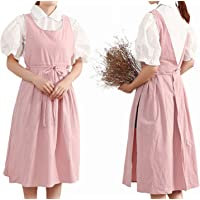Women Girls Vintage Pleated Split Apron V Neck Gardening Works Cotton Overall Smock Pinafore Dress