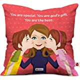 Indigifts Micro Satin & Fibre 12x12-Inch Cushion Cover (White)