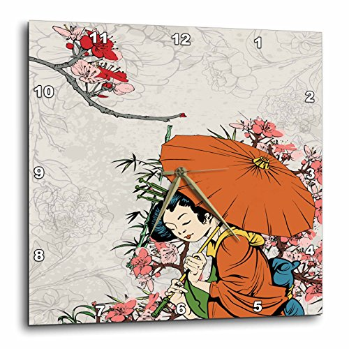 3dRose dpp_119153_1 Lovely Japanese Geisha with Umbrella and Sakura Cherry Blossom Flowers Asian Oriental Illustration Wall Clock, 10 by (Blossom Clock)