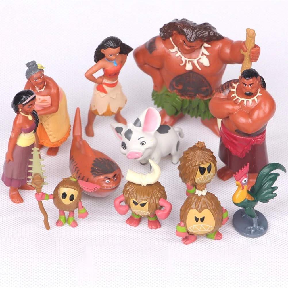 12pcs//Set Moana Figures Figurine Cake Topper Maui Pua Heihei Doll Toy Kid Gift