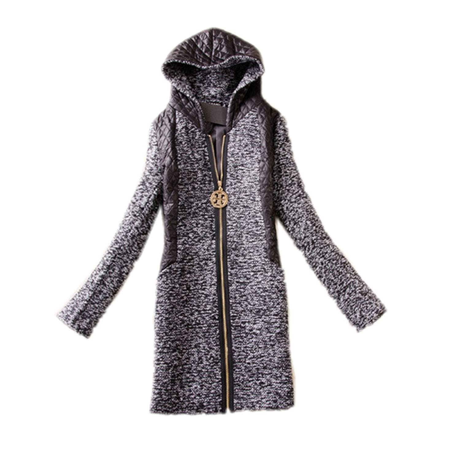 Woman Full Sleeve Slim Hooded Pocket PU Patchwork Winter Cotton-Padded Coat
