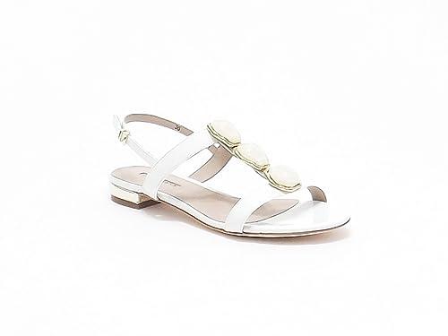 Colore Donna Barachini Gioiello Vernice Pietre Sandalo Con In Bianco yON0wPm8nv