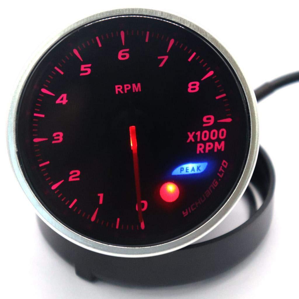 B Blesiya 9000RPM Auto Motor Tachometer Gauge mit Einstellbares Shift-Licht f/ür Fahrzeug