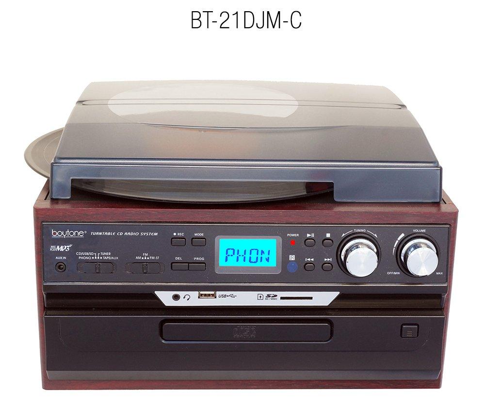 7-in-1 Boytone BT-21DJM-C 3 Speed Turntable 33/45/78 RPM, Belt Drive, CD, Cassette Player AM/FM/ USB/SD Slot, Aux Input, 2 Built in Speaker. Encoding ...