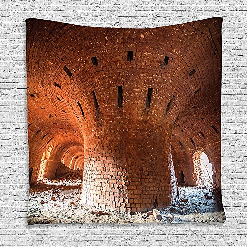 Orange Brick Wool Mens - SCOCICI Supersoft Fleece Throw Blanket Industrial Decor Wide Angle View of An Old Wall Abandoned Brick Factory Building Development in Science Orange 59 x 59 Inches