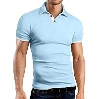 KUYIGO Men's Short Sleeve Polo Shirts Casual Slim Fit Basic Designed Cotton Shirts