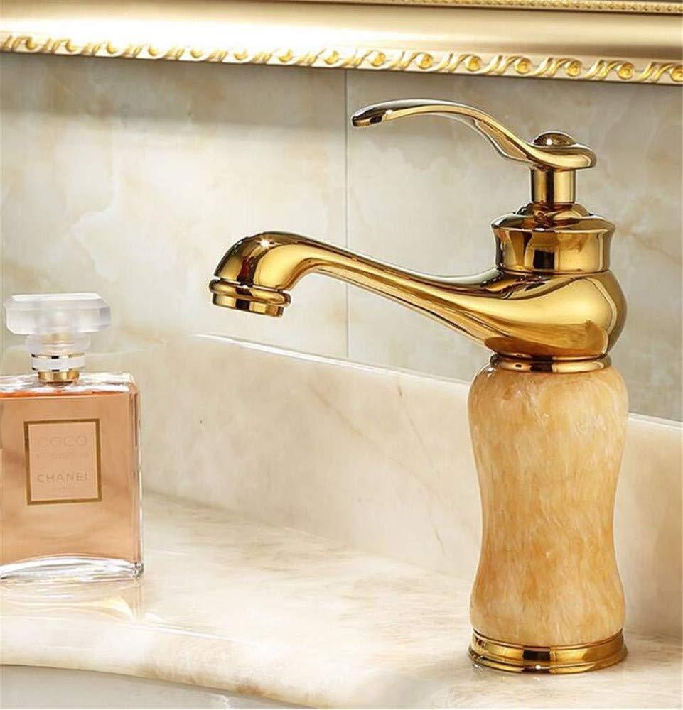 360 ° drehbaren Wasserhahn Retro Wasserhahn Becken heißen und kalten Wasserhahn Gold Haushalts Marmor Drehhahn