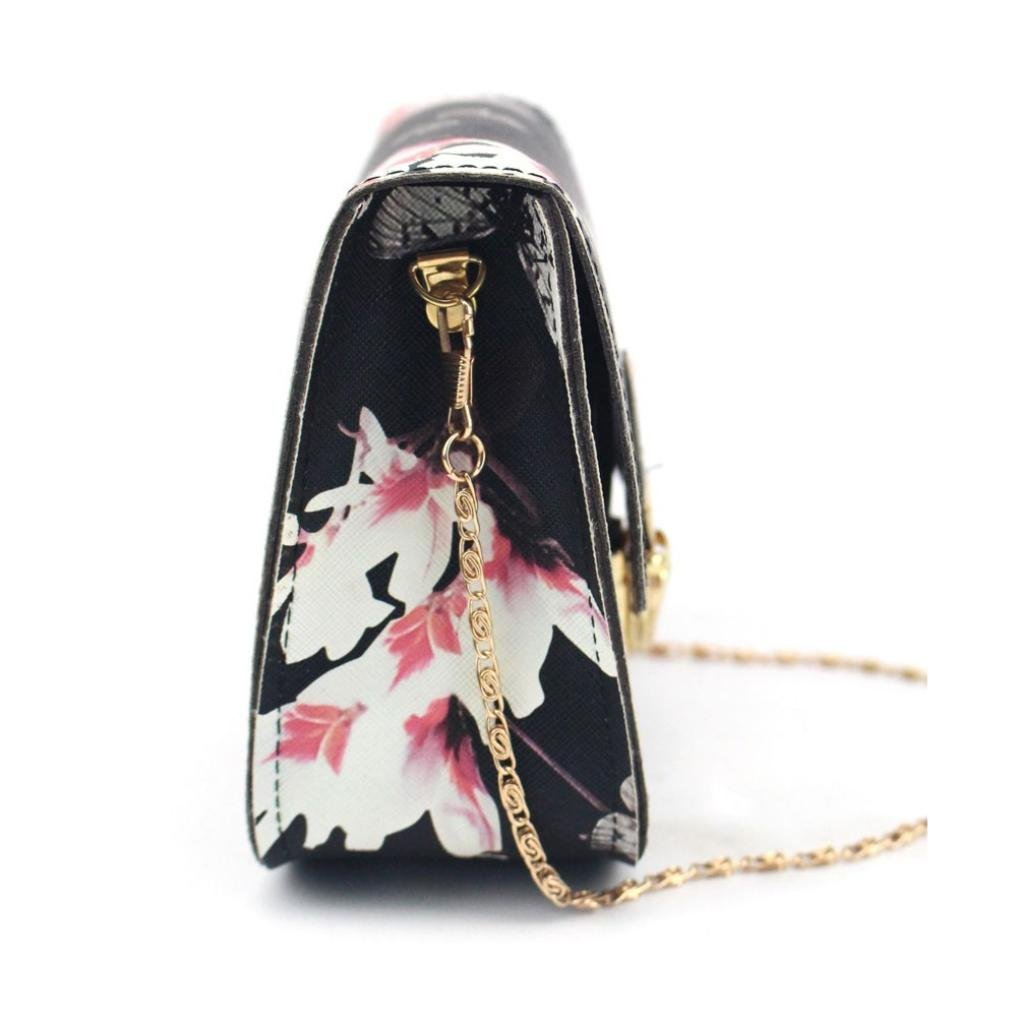 Outsta Butterfly Flower Printing Handbag,Women Shoulder Bag Tote Messenger Bag Phone Bag Coin Bag Travel Backpack Bucket Bag Classic Basic Casual Daypack Travel (Black) by Outsta (Image #2)
