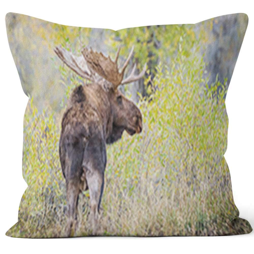 """Nine City Large Bull Moose in Yellow Forest Throw Pillow Cover,HD Printing for Sofa Couch Car Bedroom Living Room Decor,40"""" W by 40"""" L"""