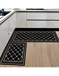 HEBE Kitchen Rugs 2 Piece Non Slip Kitchen Mats And Rugs Rubber Backing  Kitchen Floor