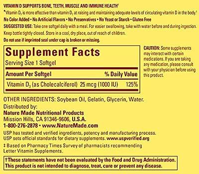 Nature Made Vitamin D3 1000 IU, Value Size, 180-Count Softgels