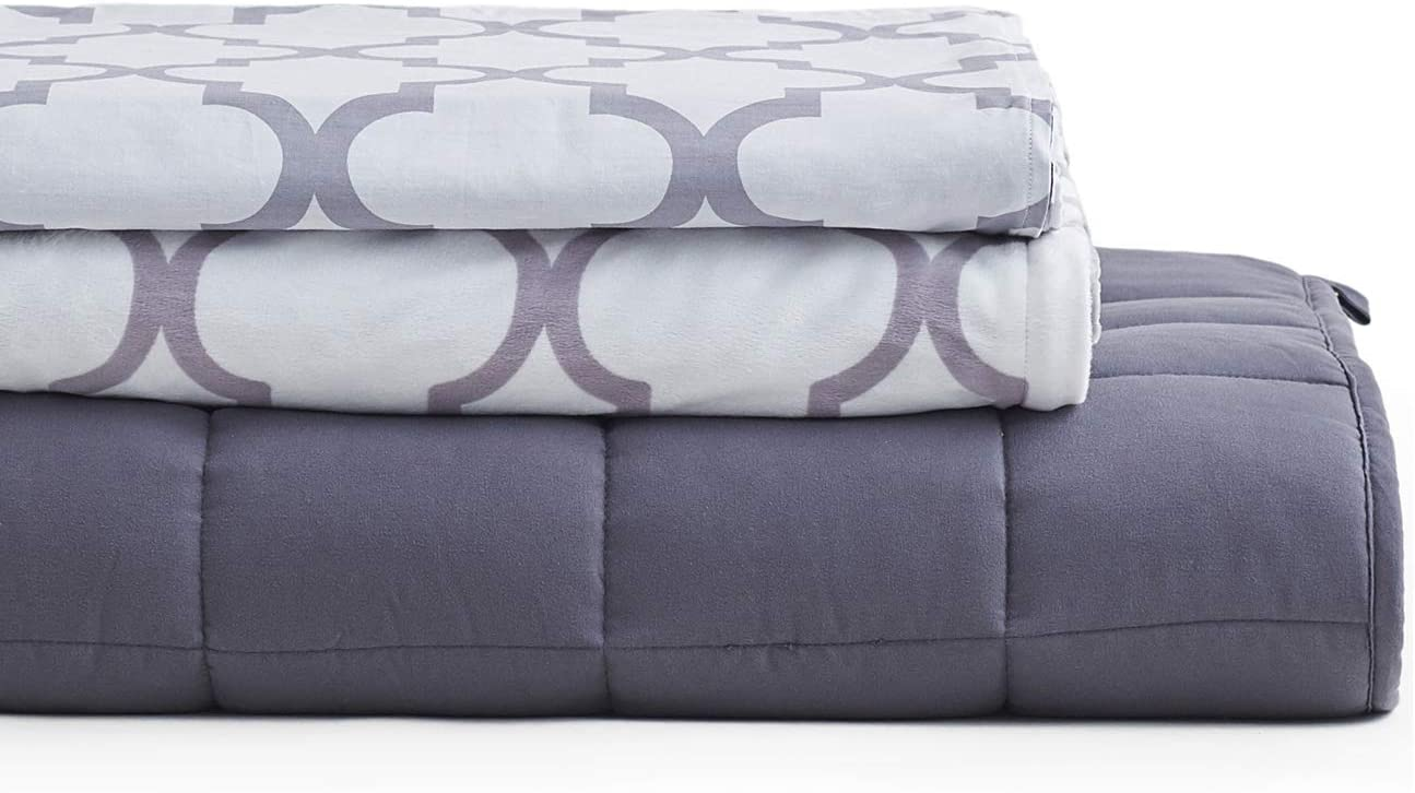 YnM Weighted Blanket 3 Pieces Set with 2 Duvet Covers | 60''x 80'' 20lbs, Queen Size for One Person(~210lbs) Use | Suit for Hot & Cold Sleepers Year Round Use