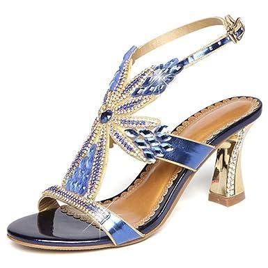 e7330ab4a24 ZPFME Talones Para Mujer Sandalias De Pedrería Zapatos De Tacón De Bloque  De Moda Slingback Zapatos De Tacón Abierto Zapatos De Tacón Alto   Amazon.es  Ropa ...