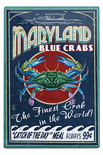 Lantern Press Maryland - Blue Crabs Vintage Sign (12x18 Aluminum Wall Sign, Wall Decor Ready to Hang)
