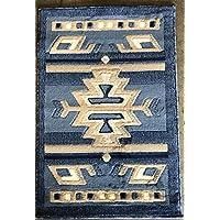 Southwest Native American Door Mat Area Rug Light Blue Carpet King Design 113 (2 Feet X 3 Feet)