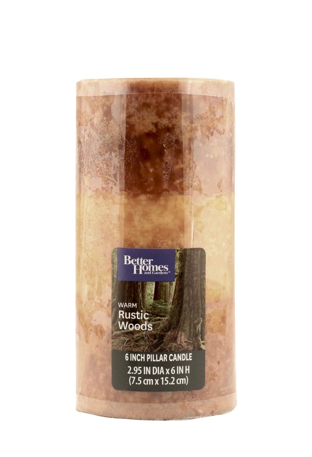 Better Homes and Gardens 6'' Pillar Candle, Warm Rustic Woods