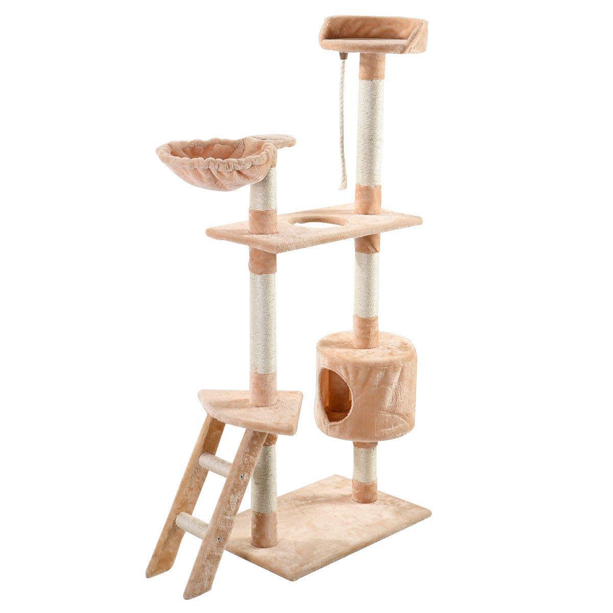 Eight24hours New 60'' Cat Tree Tower Condo Scratcher Furniture Kitten Pet House Hammock Beige + FREE E-Book