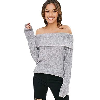 Rosegal Pull Femme Manche Longue Sweater Chemise Automne Sexy col Bateau Mode  Tunique Tops  Amazon.fr  Vêtements et accessoires 798e08f86a8