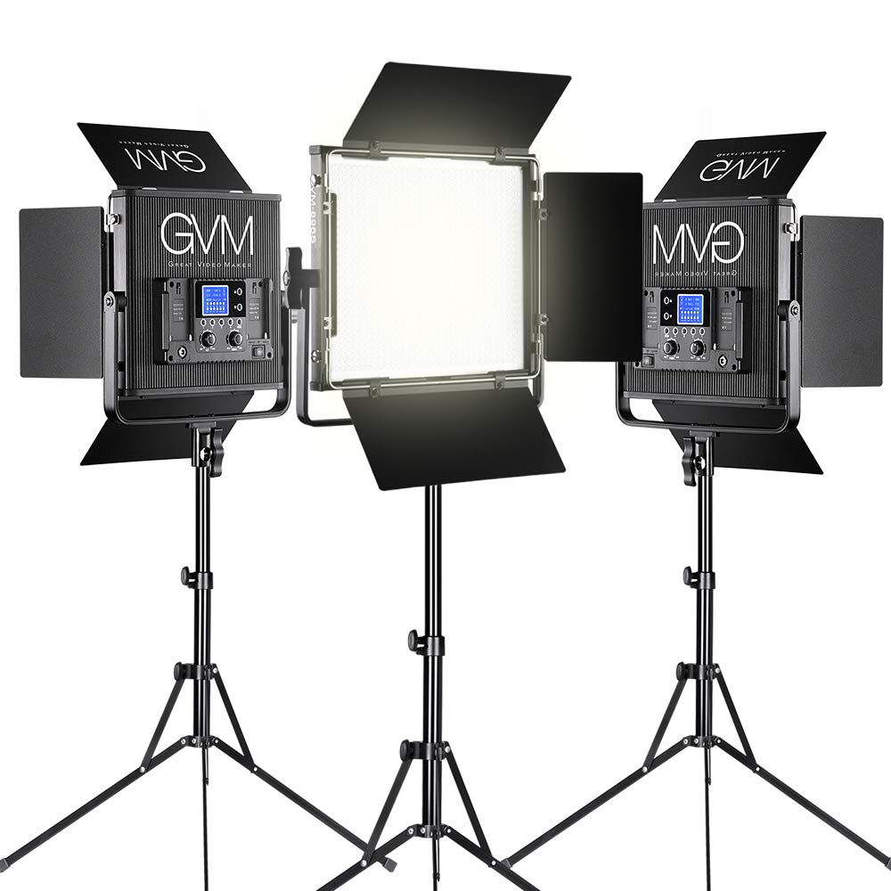 GVM LED Video Light Dimmable Bi-Color Aluminum Alloy Body with Wireless Controller for Studio, YouTube Video Photography, 896S-B3L by GVM Great Video Maker