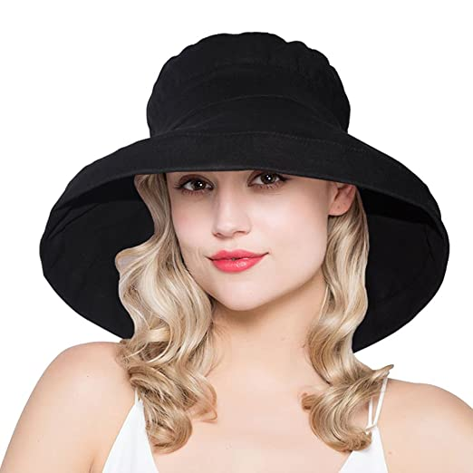 63d9477ba00 AOMUU Womens Summer Sun hat UPF 50+ Packable Floppy Wide Brim Bucket Hat  Black