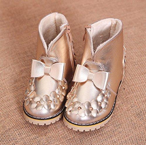 TPulling Mode Junge Und Mädchen Martin Stiefel Herbst Und Winter Kinder-Verdickung Lässige Schuhe Gold