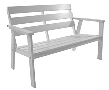 hanko 2 seater fsc solid pine wood garden bench white 4 layers